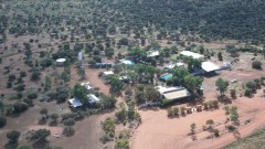 Aerial view of Tjukayirla Roadhouse and Great Central Road - [Click for a Larger Image]