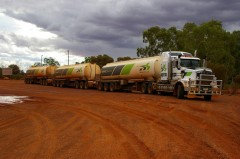 A road train arrives at the roadhouse. - [Click for a Larger Image]