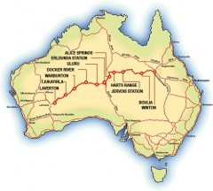 Map of the Outback Way [Click for larger image] - [Click for a Larger Image]